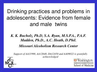 Drinking practices and problems in adolescents: Evidence from female and male  twins
