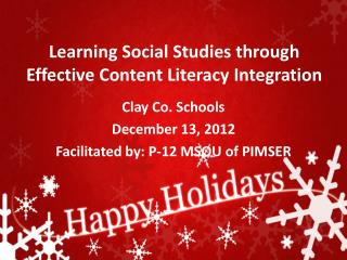 Learning Social Studies through Effective Content Literacy Integration