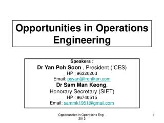 Opportunities in Operations Engineering