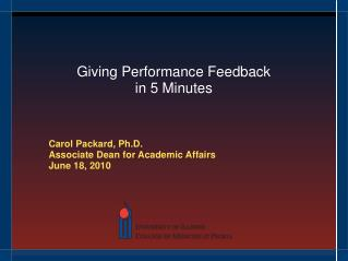 Giving Performance Feedback  in 5 Minutes
