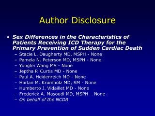 Author Disclosure