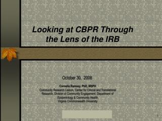 Looking at CBPR Through the Lens of the IRB