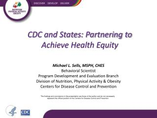 CDC and States: Partnering to Achieve Health Equity