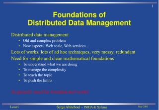Foundations of Distributed Data Management