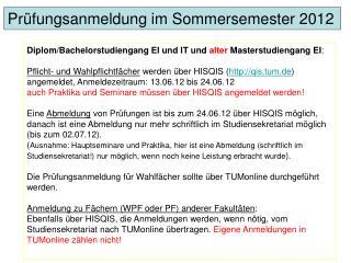 Diplom/Bachelorstudiengang EI und IT und  alter  Masterstudiengang EI :