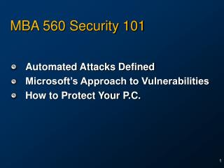 MBA 560 Security 101