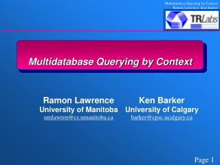 Multidatabase Querying by Context