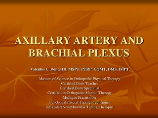 AXILLARY ARTERY AND BRACHIAL PLEXUS
