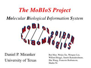 The MoBIoS Project Mo lecular  B iological  I nformation  S ystem