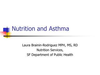 Nutrition and Asthma