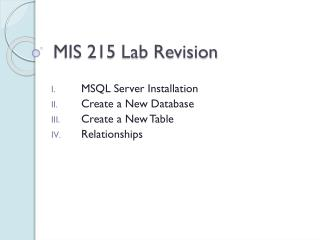 MIS 215 Lab Revision