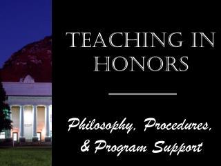 Teaching in Honors