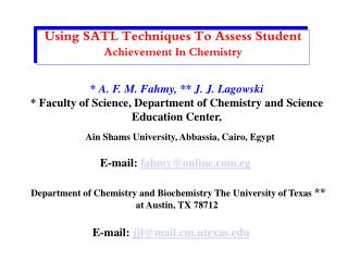 Using SATL Techniques To Assess Student  Achievement In Chemistry