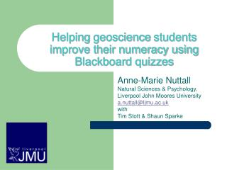 Helping  geoscience  students improve their numeracy using Blackboard quizzes