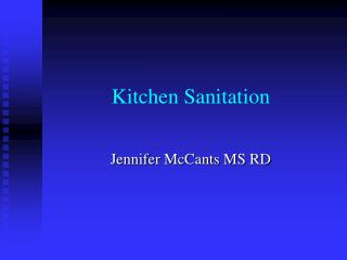 Kitchen Sanitation