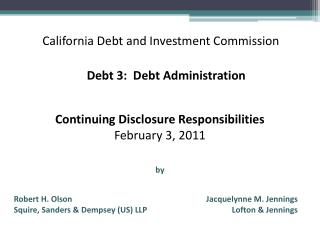 California Debt and Investment Commission
