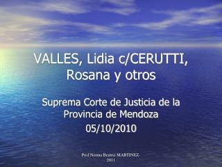 VALLES, Lidia c/CERUTTI, Rosana y otros
