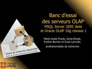 Banc d'essai  des serveurs OLAP  MSQL Server 2005  beta  et Oracle OLAP 10g release 1