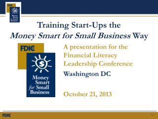 Training Start-Ups the   Money Smart for Small Business  Way