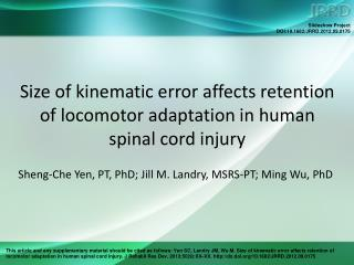 Size of kinematic error affects retention of locomotor adaptation in human spinal cord injury