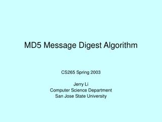 MD5 Message Digest Algorithm