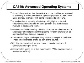 CA549: Advanced Operating Systems