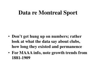 Data re Montreal Sport