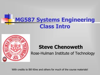 MG587 Systems Engineering  Class Intro