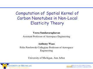Computation of Spatial Kernel of Carbon Nanotubes in Non-Local Elasticity Theory
