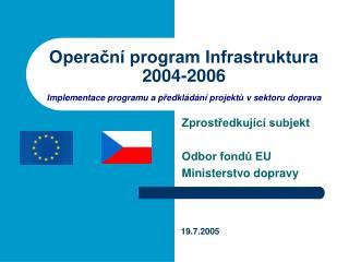 Zprostředkující subjekt  Odbor fondů EU Ministerstvo dopravy