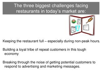 The three biggest challenges facing restaurants in today's market are: