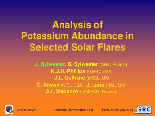 Analysis of  Potassium Abundance in Selected Solar Flares
