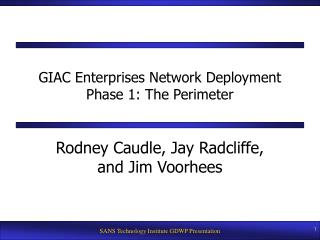 GIAC Enterprises Network Deployment Phase 1: The Perimeter