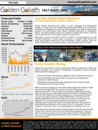 Overview: Golden Goliath Resources