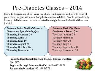 Pre-Diabetes Classes – 2014