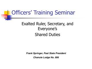 Officers� Training Seminar