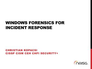 Windows Forensics for Incident Response