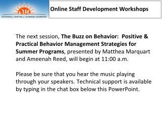 Online Staff Development Workshops