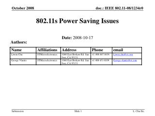 802.11s Power Saving Issues