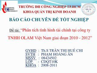 TRƯỜNG ĐH CÔNG NGHIỆP TP.HCM KHOA QUẢN TRỊ KINH DOANH