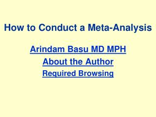 How to Conduct a Meta-Analysis