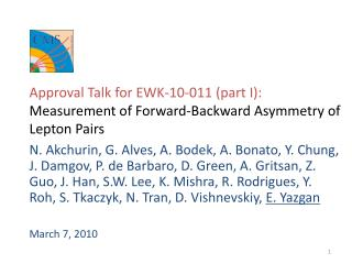 Approval Talk for EWK-10-011 (part I): Measurement of Forward-Backward Asymmetry of Lepton Pairs
