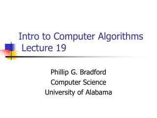 Intro to Computer Algorithms  Lecture 19