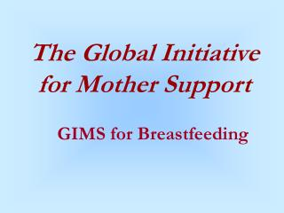 The Global Initiative for Mother Support