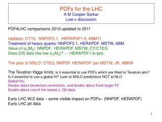 PDFs for the LHC  A M Cooper-Sarkar Low-x discussion