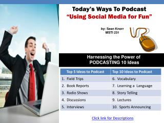 "Today's Ways To Podcast ""Using Social Media for Fun"""