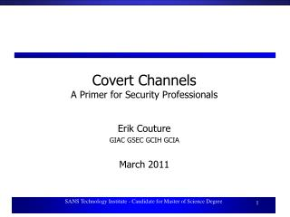 Covert Channels A Primer for Security Professionals