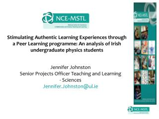 Jennifer Johnston Senior Projects Officer Teaching and Learning   Sciences