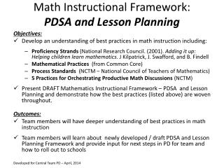 Math Instructional Framework: PDSA and Lesson Planning
