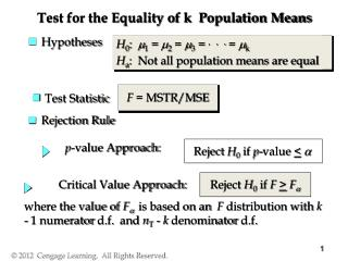 Test for the Equality of k  Population Means
